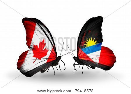 Two Butterflies With Flags On Wings As Symbol Of Relations Canada And Antigua And Barbuda