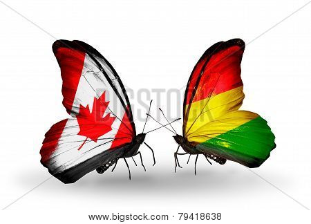 Two Butterflies With Flags On Wings As Symbol Of Relations Canada And Bolivia