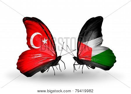 Two Butterflies With Flags On Wings As Symbol Of Relations Turkey And Palestine