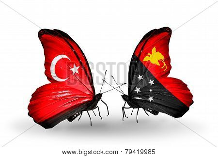 Two Butterflies With Flags On Wings As Symbol Of Relations Turkey And Papua New Guinea