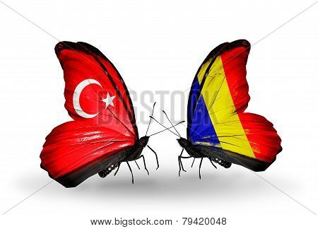 Two Butterflies With Flags On Wings As Symbol Of Relations Turkey And Chad, Romania