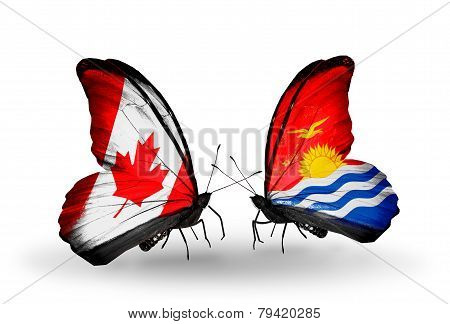 Two Butterflies With Flags On Wings As Symbol Of Relations Canada And Kiribati