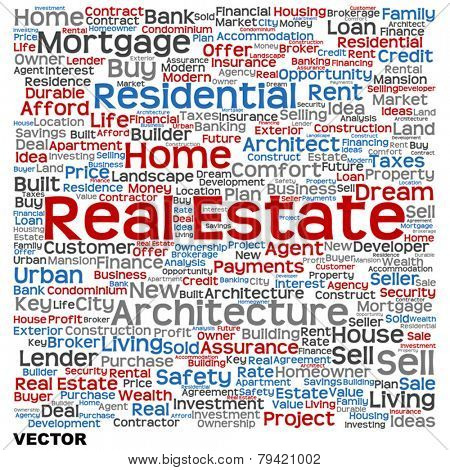 Vector concept or conceptual abstract blue and red real estate or housing word cloud text on white background