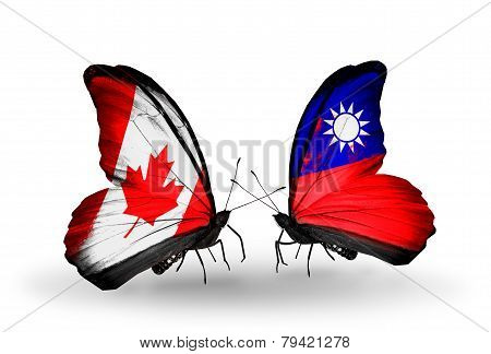Two Butterflies With Flags On Wings As Symbol Of Relations Canada And Taiwan