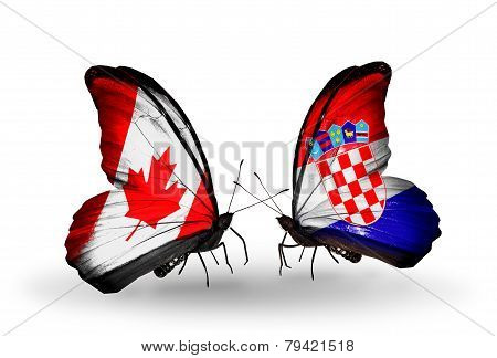 Two Butterflies With Flags On Wings As Symbol Of Relations Canada And Croatia