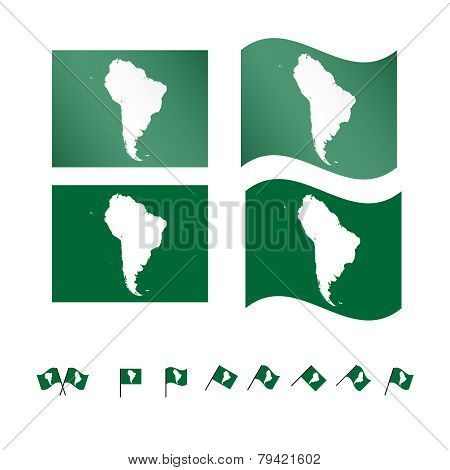 Flags With South American Map