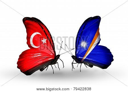 Two Butterflies With Flags On Wings As Symbol Of Relations Turkey And  Marshall Islands