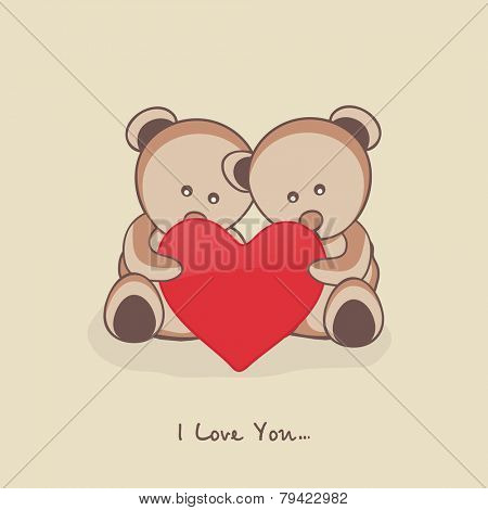 Cute teddy bears holding red heart with text I Love You for Happy Valentine's Day and other occasion celebration.
