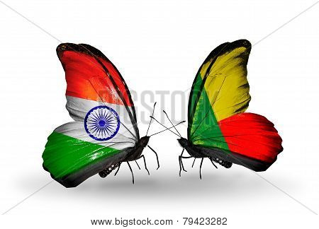 Two Butterflies With Flags On Wings As Symbol Of Relations India And Benin