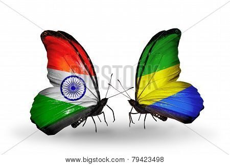 Two Butterflies With Flags On Wings As Symbol Of Relations India And Gabon