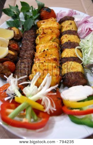 Lamb and chicken kebabs