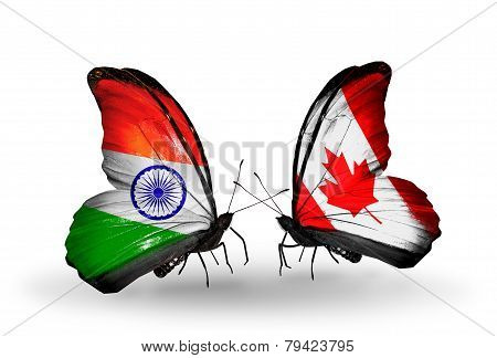Two Butterflies With Flags On Wings As Symbol Of Relations India And Canada