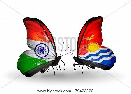 Two Butterflies With Flags On Wings As Symbol Of Relations India And Kiribati