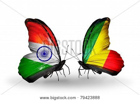 Two Butterflies With Flags On Wings As Symbol Of Relations India And Kongo