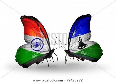 Two Butterflies With Flags On Wings As Symbol Of Relations India And Lesotho
