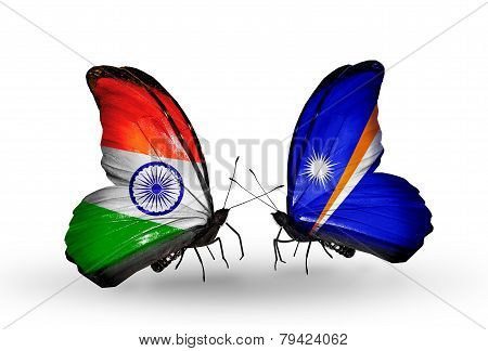 Two Butterflies With Flags On Wings As Symbol Of Relations India And  Marshall Islands