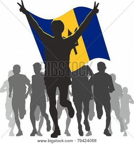 Winner with the  Barbados flag at the finish