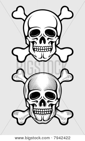 skull with skeleton bones pirate symbol