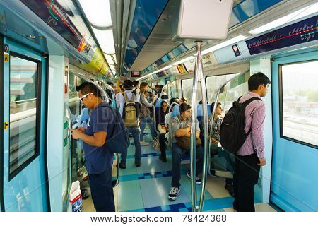 DUBAI - OCT 16: the Dubai metro car interior on October 16, 2014. The Dubai Metro is a driverless, fully automated metro rail network in the United Arab Emirates city of Dubai