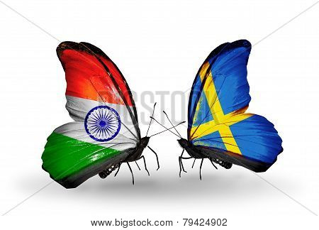 Two Butterflies With Flags On Wings As Symbol Of Relations India And Sweden