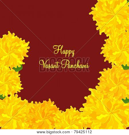 Beautiful greeting card design with yellow flowers for Happy Vasant Panchami celebration.