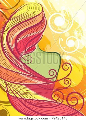 Beautiful long hair girl with spring colors on floral decorated background.
