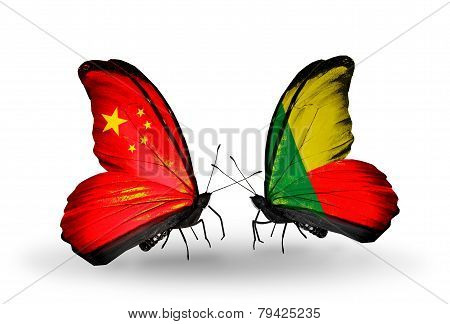 Two Butterflies With Flags On Wings As Symbol Of Relations China And Benin