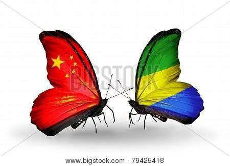 Two Butterflies With Flags On Wings As Symbol Of Relations China And  Gabon