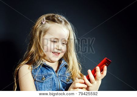 Cute Little Girl Speaks Using New Cell Phone.