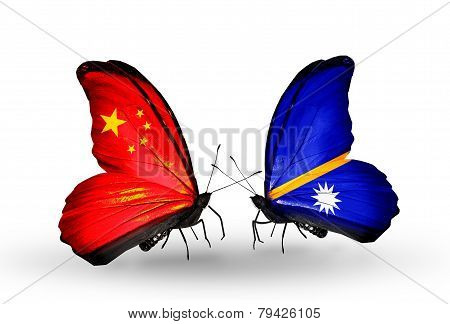 Two Butterflies With Flags On Wings As Symbol Of Relations China And Nauru