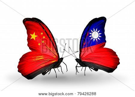 Two Butterflies With Flags On Wings As Symbol Of Relations China And Taiwan