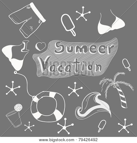 Stylish doodle set for summer vacation on grey background, seamless pattern.