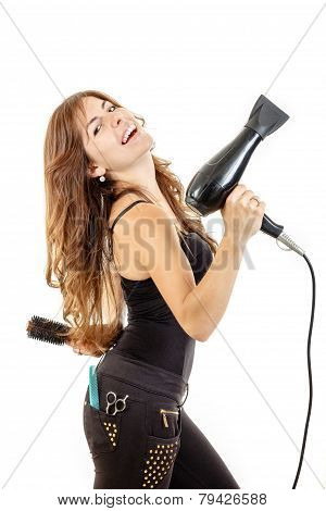 Smiling And Happy Professional Caucasian Brunette Female Hairdresser