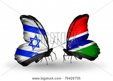 Two Butterflies With Flags On Wings As Symbol Of Relations Israel And Gambia
