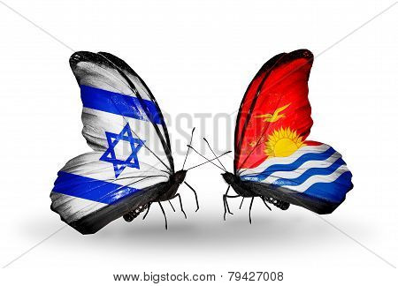 Two Butterflies With Flags On Wings As Symbol Of Relations Israel And Kiribati