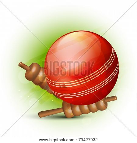 Cricket sports concept with glossy red ball and bails on green background.