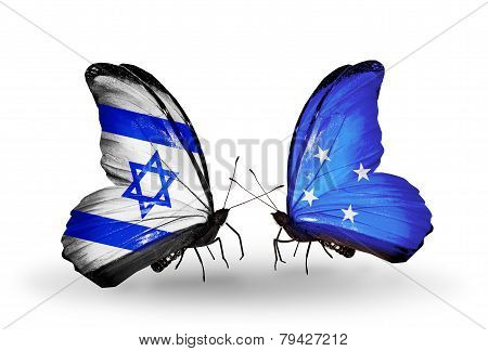 Two Butterflies With Flags On Wings As Symbol Of Relations Israel And Micronesia