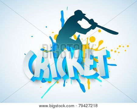 Silhouette of Cricket batsman in playing action with 3D text on sky blue background.