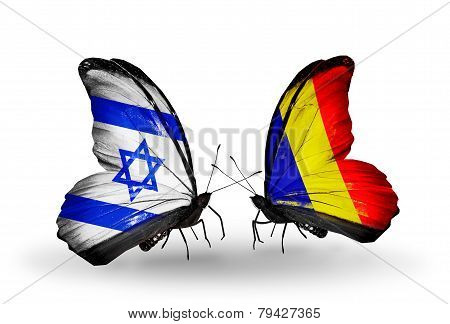 Two Butterflies With Flags On Wings As Symbol Of Relations Israel And  Chad, Romania
