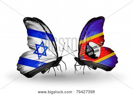 Two Butterflies With Flags On Wings As Symbol Of Relations Israel And  Swaziland