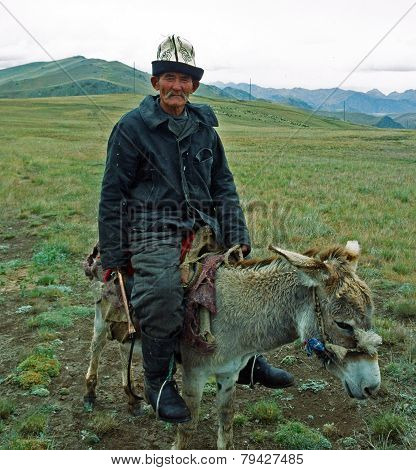An Old Kyrgyz Rides The Donkey In The Alay Valley