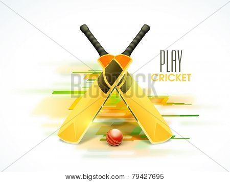 Shiny bats and red ball for Cricket on colorful abstract background.