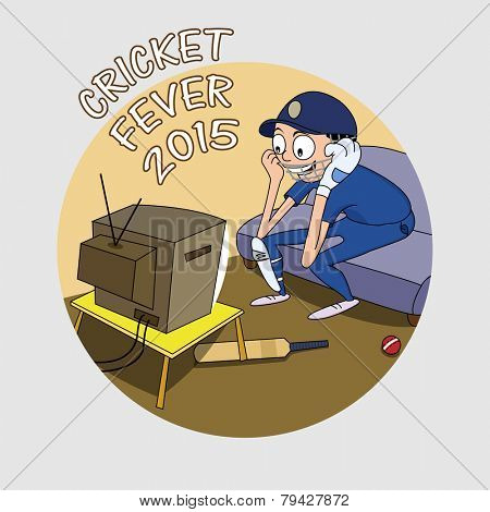 Cartoon of a batsman in uniform watching match on tv for cricket fever 2015 concept.