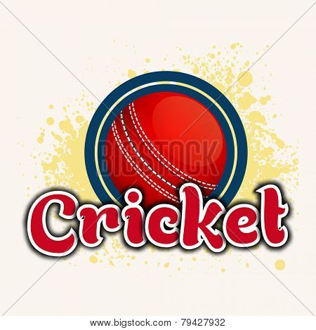 Red cricket ball with stylish text Cricket on color splash background.