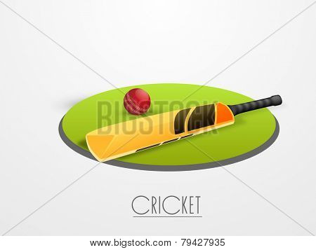 Red cricket ball with bat on green field stage with text cricket on white background.