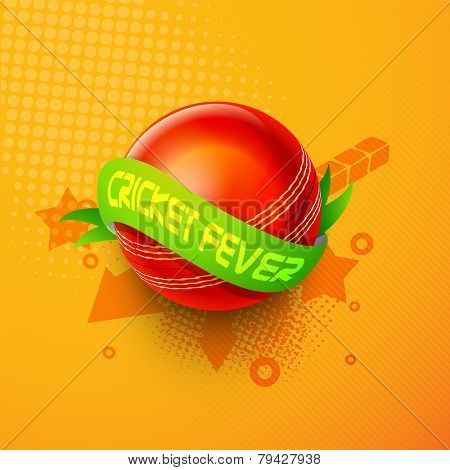 Glossy red ball with green Cricket Fever ribbon on stylish orange background.