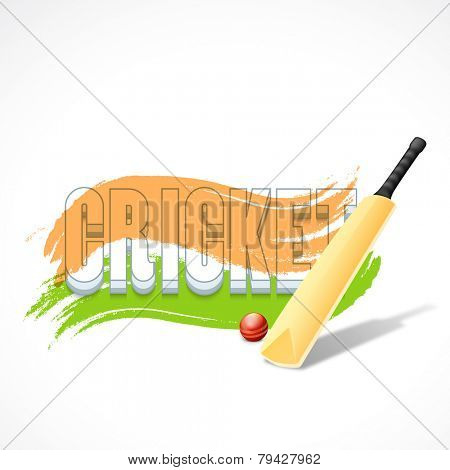 3D text Cricket with bat, red ball and Indian national tricolor paint stroke on white background.