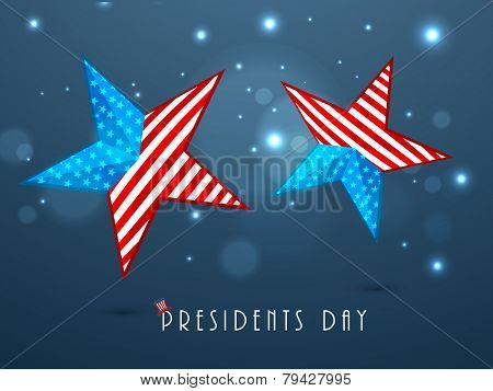 United State of American flag in glossy stars for Happy Presidents Day celebration on shiny blue background.