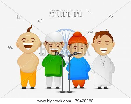 India, cute little kids of different religion singing patriotic song on occasion of Indian Republic Day on Ashoka Wheel background.