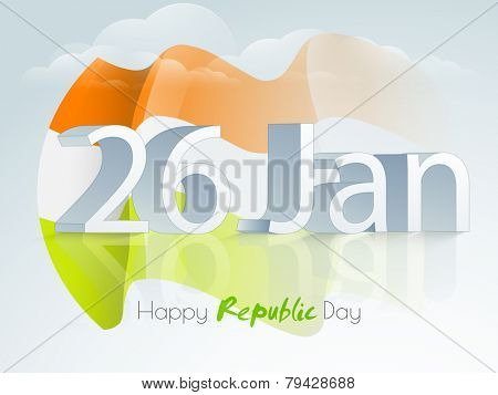 3D text 26 January with waving national flag for Happy Indian Republic Day celebration on cloudy sky background.